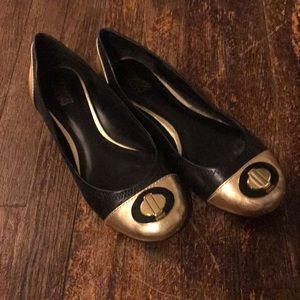 Coach gold and black ballet flats size 8